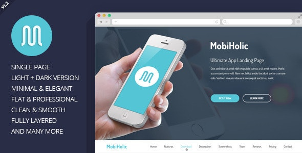 MobiHolic - Ultimate App Landing Page Template - Technology Photoshop