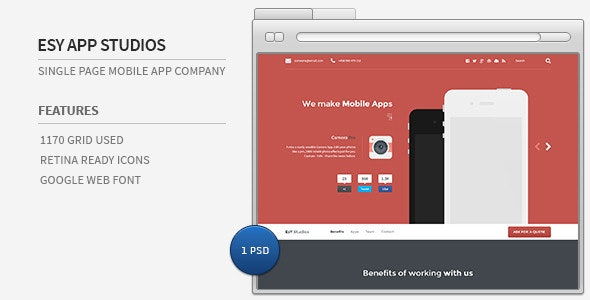 EsY App Studios - Single Page Mobile App Company - Technology PSD Templates