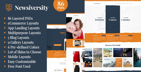 Newsiversity - PSD - Photoshop UI Templates