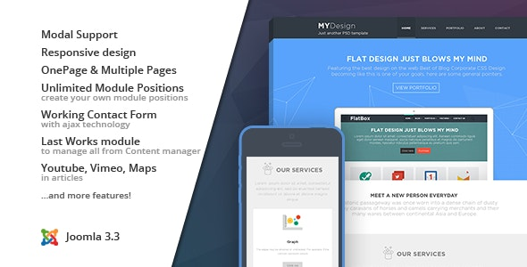 MYDesign :: Onepage Flat Joomla Template - Corporate Joomla