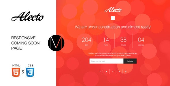 Alecto - Coming Soon Template - Under Construction Specialty Pages