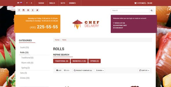 Chef Delivery - OpenCart Universal Template