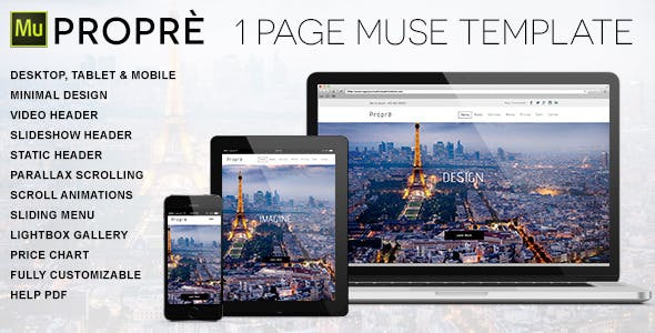 Propre 1 Page Muse Template