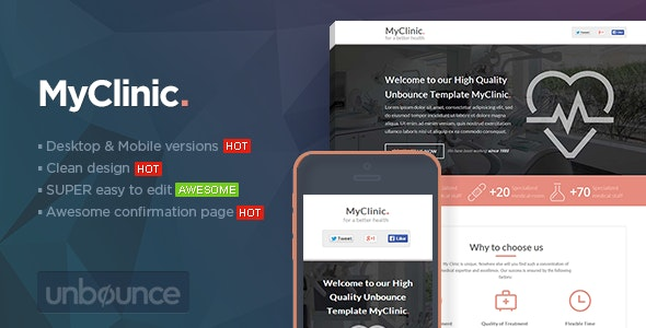 MyClinic - Medical Unbounce Template - Unbounce Landing Pages Marketing