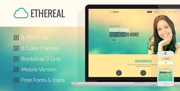 Ethereal - Multipurpose Onepage PSD Template - Corporate Photoshop