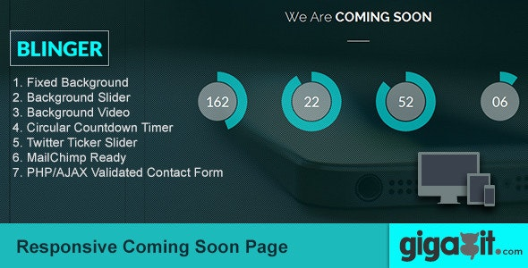 Blinger - Responsive Coming Soon Page - Under Construction Specialty Pages
