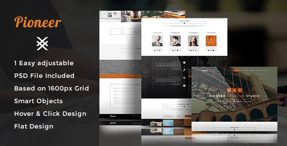 Pioneer - One Page PSD Template - Creative Photoshop