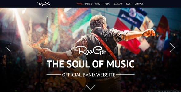 Raaga Parallax Muse Template for Musicians & Bands