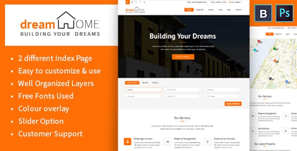 Dream Home Real Estate PSD Template - Business Corporate
