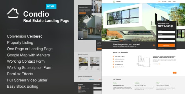 Condio - Real Estate Landing Page - Corporate Landing Pages