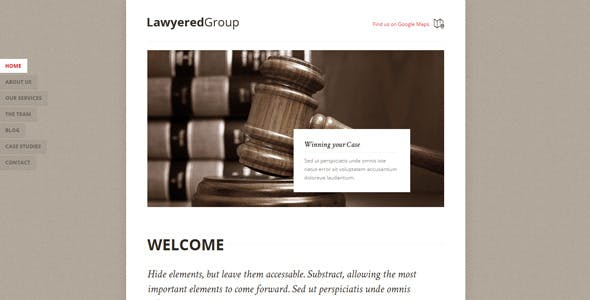 Lawyered Group - One Page WordPress Theme