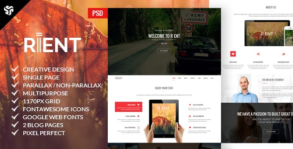 Rient | Multi-Purpose Parallax PSD Landing Page  - Creative Photoshop