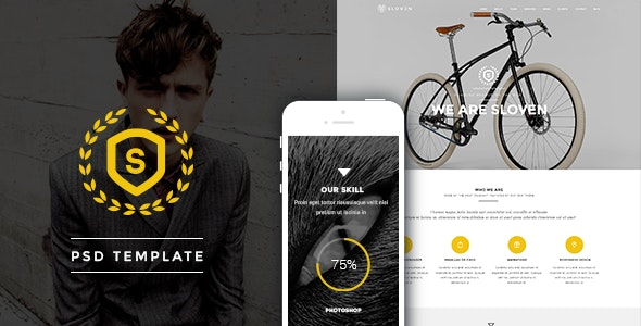Sloven - One Page PSD Template - Creative Photoshop
