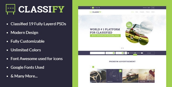 Classify - Classified Ads PSD Template - Miscellaneous Photoshop