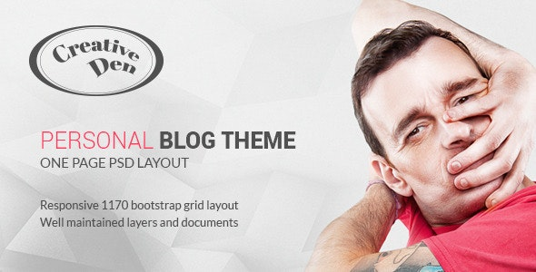 Bloggers Den - One Page Personal Blog Template - Miscellaneous Photoshop