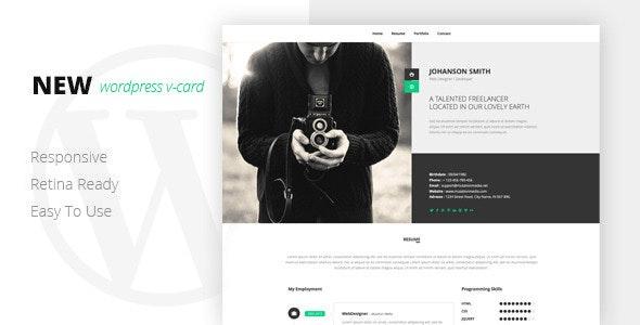 NEW Retina Ready WordPress Vcard Theme - Portfolio Creative