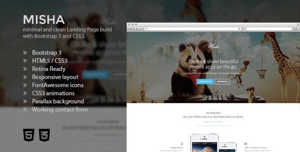 Misha - Bootstrap 3 Retina App Landing Page - Apps Technology