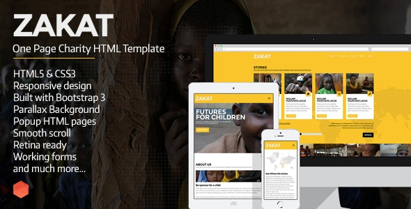 Zakat - One Page Charity HTML Template - Charity Nonprofit