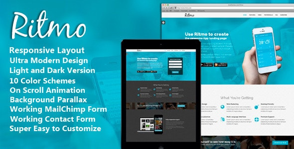 Ritmo - Mobile App Landing Page HTML5 Template - Landing Pages Marketing