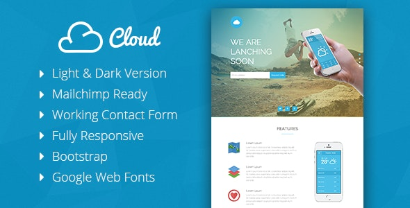 Cloud - Mobile App Coming Soon Responsive Template - Under Construction Specialty Pages