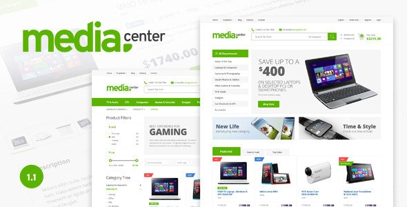 Media Center - Electronic eCommerce PSD Template - Shopping Retail