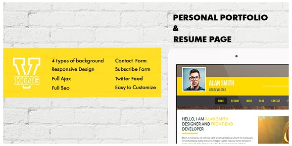 V-king . Personal Portfolio & Resume Page - Resume / CV Specialty Pages