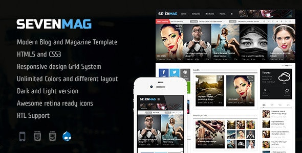 SevenMag - The Blog Magazine And Games TRL Drupal 7.6 Theme - Blog / Magazine Drupal