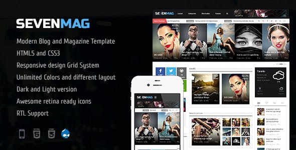 SevenMag - The Blog Magazine And Games TRL Drupal 7.6 Theme