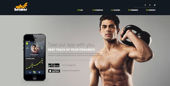 Hermes - Fitness One-page PSD Template