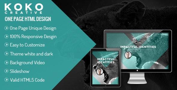 KOKO - One Page Parallax Theme - Creative Site Templates
