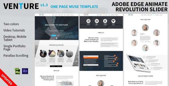 Venture: One Page Animated Muse Template - Corporate Muse Templates
