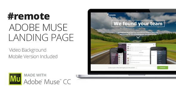 Remote   Muse Landing Page with Fullscreen Video Header - Landing Muse Templates