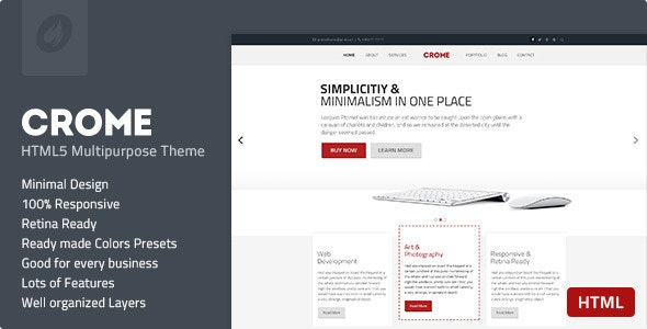 Crome - Responsive Multipurpose HTML5 Template - Creative Site Templates