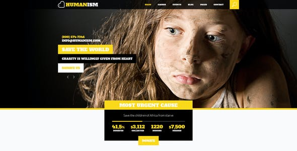 Humanism - Charity, Nonprofit PSD Theme