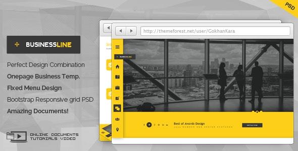 BusinessLine - Onepage Business .PSD Theme - Business Corporate