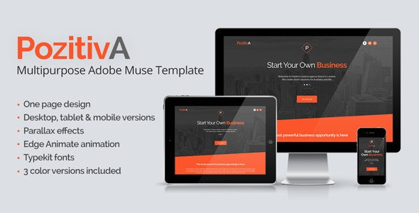 PozitivA - Multipurpose One Page Muse Template - Creative Muse Templates