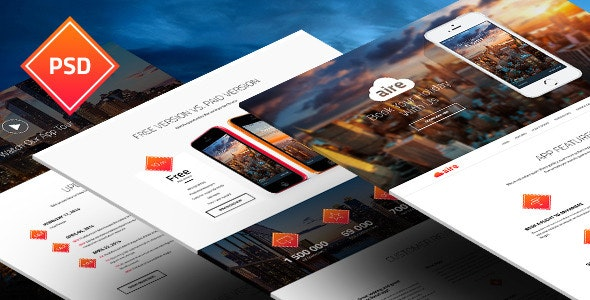 Aire - App Landing Page PSD Template - Technology Photoshop
