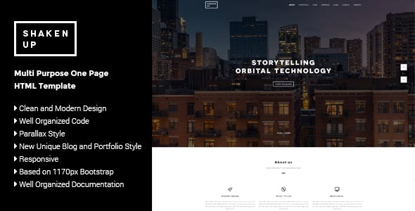 Shaken-Up - Multi Purpose One Page HTML Template